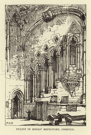 Pulpit in Monks' Refectory, Chester. Illustration for Our National Cathedral (Ward Lock, c 1880).