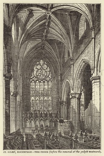 St Giles', Edinburgh, The Choir, before the removal of the pulpit westward. Illustration for Our National Cathedral (Ward Lock, c 1880).