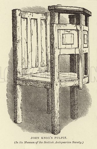 John Knox's Pulpit, in the Museum of the Scottish Antiquarian Society. Illustration for Our National Cathedral (Ward Lock, c 1880).