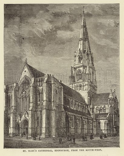 St Mary's Cathedral, Edinburgh, from the South-West. Illustration for Our National Cathedral (Ward Lock, c 1880).