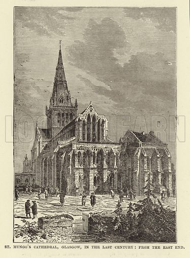 St Mungo's Cathedral, Glasgow, in the Last Century, from the East End. Illustration for Our National Cathedral (Ward Lock, c 1880).