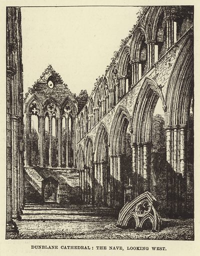 Dunblane Cathedral, the Nave, looking West. Illustration for Our National Cathedral (Ward Lock, c 1880).