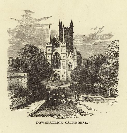 Downpatrick Cathedral. Illustration for Our National Cathedral (Ward Lock, c 1880).