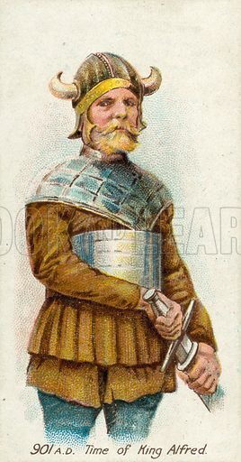 901 AD, Time of King Alfred. Cigarette card, early 20th century.