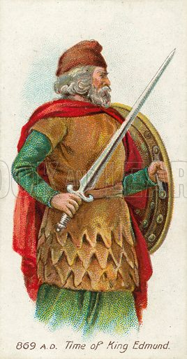 869 AD, Time of King Edmund. Cigarette card, early 20th century.