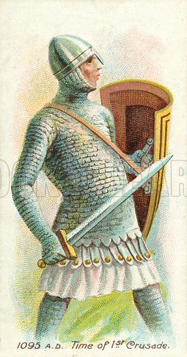 1095 AD, Time of 1st Crusade. Cigarette card, early 20th century.