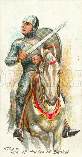 1170 AD, Time of Murder of Becket. Cigarette card, early 20th century.