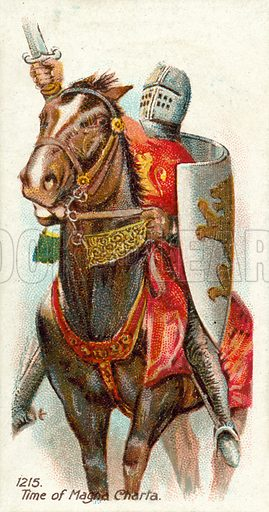 1215, Time of Magna Charta. Cigarette card, early 20th century.