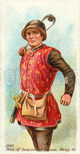 1242, Time of Invasion of France, Henry III. Cigarette card, early 20th century.