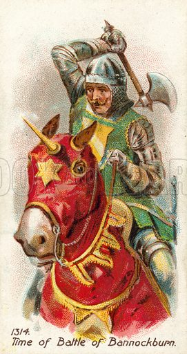 1314, Time of Battle of Bannockburn. Cigarette card, early 20th century.