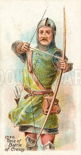 1346, Time of Battle of Cressy. Cigarette card, early 20th century.