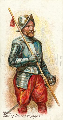 1580, Time of Drake's Voyages. Cigarette card, early 20th century.