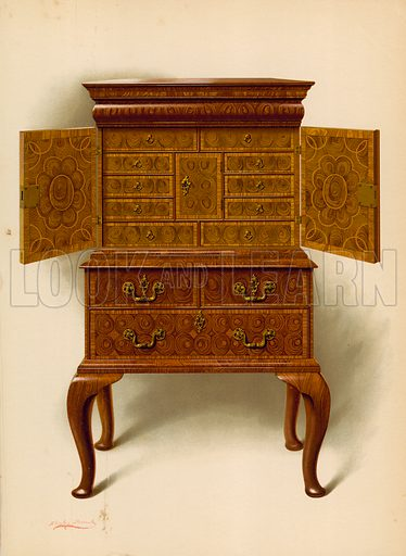 Walnut Cabinet, property of Edward Dent. Illustration for A History of English Furniture, The Age of Mahogany by Percy Macquoid (Lawrence & Bullen, 1906).