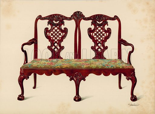 Settee, property of Miss Mills. Illustration for A History of English Furniture, The Age of Mahogany by Percy Macquoid (Lawrence & Bullen, 1906).
