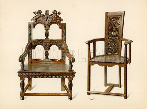 Oak Cacqueteuse Chair, property of Percy Macquoid; Yew Chair, property of the Duke of Leeds. Illustration for A History of English Furniture, The Age of Oak by Percy Macquoid (Lawrence & Bullen, 1904).