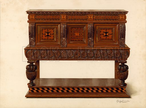 Walnut and Oak Standing Buffet, property of Percy Macquoid. Illustration for A History of English Furniture, The Age of Oak by Percy Macquoid (Lawrence & Bullen, 1904).