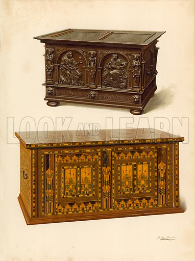 Oak Chest, property of Seymour Lucas; Oak Inlaid Nonesuch Chest. Illustration for A History of English Furniture, The Age of Oak by Percy Macquoid (Lawrence & Bullen, 1904).
