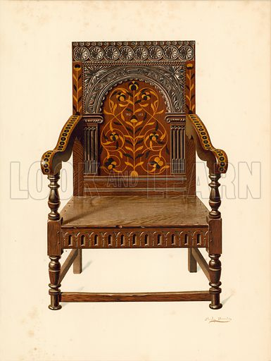 Oak Inlaid Chair, property of Miss Dorothy Chune Fletcher. Illustration for A History of English Furniture, The Age of Oak by Percy Macquoid (Lawrence & Bullen, 1904).