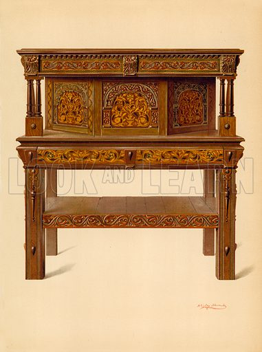 Oak Standing Buffet, property of Edward Quilter. Illustration for A History of English Furniture, The Age of Oak by Percy Macquoid (Lawrence & Bullen, 1904).
