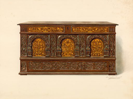 Oak Inlaid Chest, property of Arthur James. Illustration for A History of English Furniture, The Age of Oak by Percy Macquoid (Lawrence & Bullen, 1904).