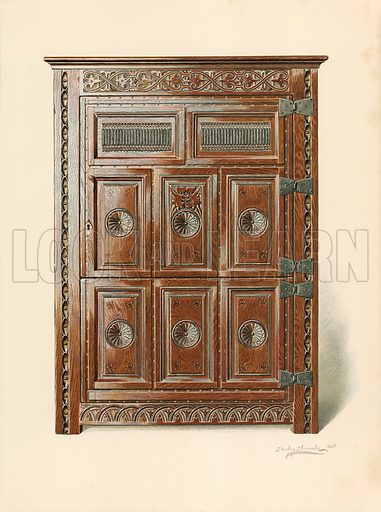 Oak Cupboard (Welsh). Illustration for A History of English Furniture, The Age of Oak by Percy Macquoid (Lawrence & Bullen, 1904).