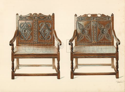 Oak Double Chairs (Welsh), property of H Clarence Whaite. Illustration for A History of English Furniture, The Age of Oak by Percy Macquoid (Lawrence & Bullen, 1904).
