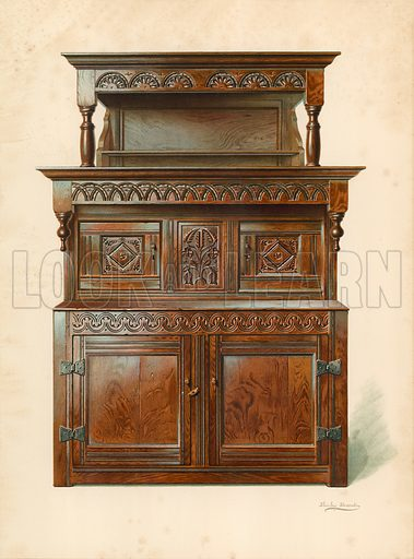 Oak Court Cupboard (Tridarn), property of H Clarence Whaite. Illustration for A History of English Furniture, The Age of Oak by Percy Macquoid (Lawrence & Bullen, 1904).