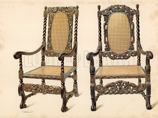 Chair, property of P Macquoid; Chair, property of Arthur S Cope. Illustration for A History of English Furniture, The Age of Walnut by Percy Macquoid (Lawrence & Bullen, 1906).