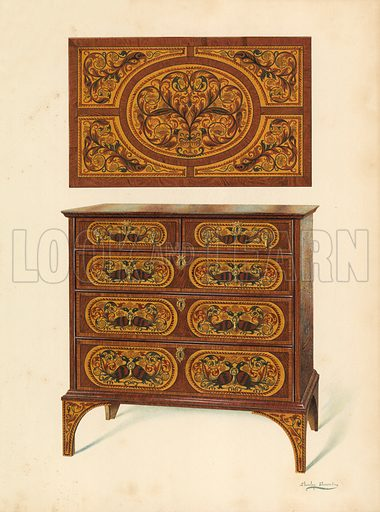 Chest of Drawers Inlaid with Marqueterie. Illustration for A History of English Furniture, The Age of Walnut by Percy Macquoid (Lawrence & Bullen, 1906).