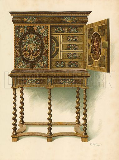 Walnut Cabinet Inlaid with Marqueterie, the property of The Hon Charlotte Maria Lady North and R Eden Dickson. Illustration for A History of English Furniture, The Age of Walnut by Percy Macquoid (Lawrence & Bullen, 1906).