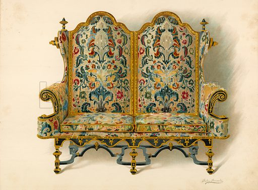 Settee, the property of the Duke of Leeds. Illustration for A History of English Furniture, The Age of Walnut by Percy Macquoid (Lawrence & Bullen, 1906).