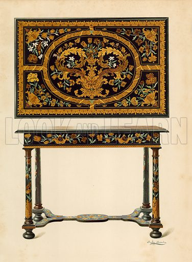 Table Inlaid with Marqueterie, property of Lord Zouche of Haryngworth. Illustration for A History of English Furniture, The Age of Walnut by Percy Macquoid (Lawrence & Bullen, 1906).