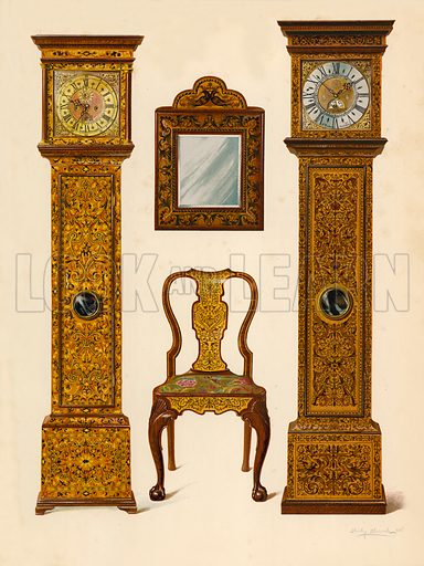 Clock Inlaid with Light Marqueterie, property of Percy Macquoid; Clock Inlaid with Dark Marqueterie, Victoria and Albert Museum; Walnut Chair Inlaid with Marqueterie; Mirror. Illustration for A History of English Furniture, The Age of Walnut by Percy Macquoid (Lawrence & Bullen, 1906).
