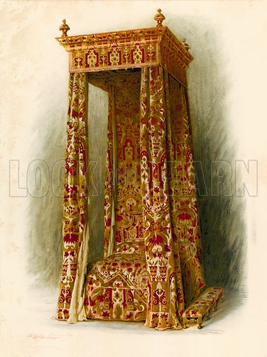Upholstered Bed, Hampton Court Palace. Illustration for A History of English Furniture, The Age of Walnut by Percy Macquoid (Lawrence & Bullen, 1906).