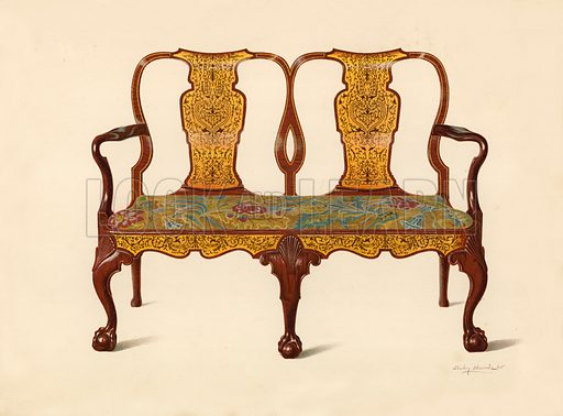 Walnut Settee Inlaid with Marqueterie, property of Percy Macquoid. Illustration for A History of English Furniture, The Age of Walnut by Percy Macquoid (Lawrence & Bullen, 1906).