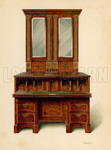 Walnut Inlaid Writing-Cabinet, property of Alfred A de Pass. Illustration for A History of English Furniture, The Age of Walnut by Percy Macquoid (Lawrence & Bullen, 1906).