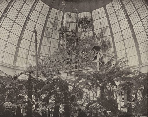Interior of the Horticultural Dome. Illustration for The Dream City, A Portfolio of Photographic Views of The World's Columbian Exposition (ND Thompson, 1893).