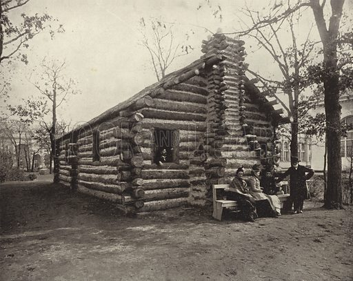 The Hunter's Cabin. Illustration for The Dream City, A Portfolio of Photographic Views of The World's Columbian Exposition (ND Thompson, 1893).