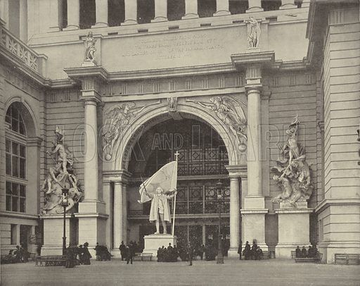 East Portal of the Administration Building. Illustration for The Dream City, A Portfolio of Photographic Views of The World's Columbian Exposition (ND Thompson, 1893).