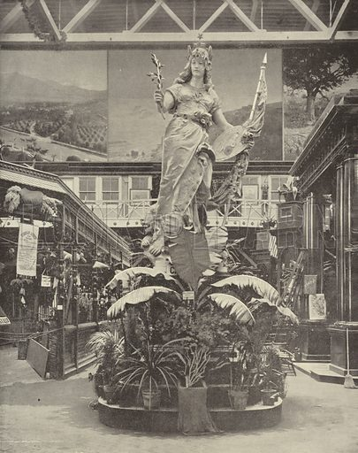 Statue of California. Illustration for The Dream City, A Portfolio of Photographic Views of The World's Columbian Exposition (ND Thompson, 1893).
