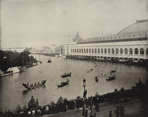 The Boat Parade on Transportation Day. Illustration for The Dream City, A Portfolio of Photographic Views of The World's Columbian Exposition (ND Thompson, 1893).