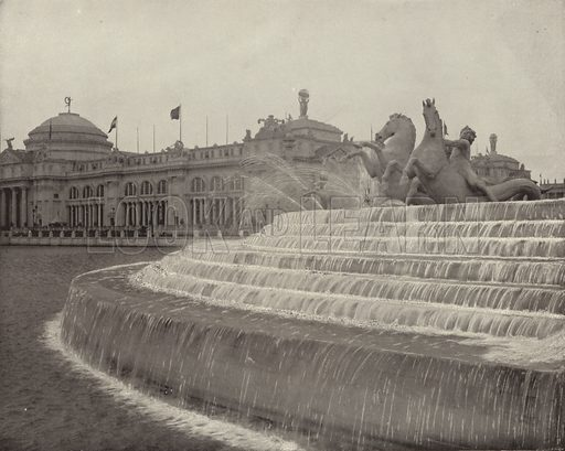The Circular Cascade and the Sea Horses. Illustration for The Dream City, A Portfolio of Photographic Views of The World's Columbian Exposition (ND Thompson, 1893).