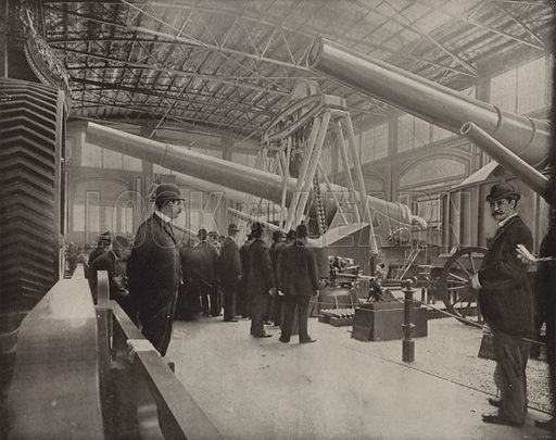 The Krupp Gun Exhibit. Illustration for The Dream City, A Portfolio of Photographic Views of The World's Columbian Exposition (ND Thompson, 1893).