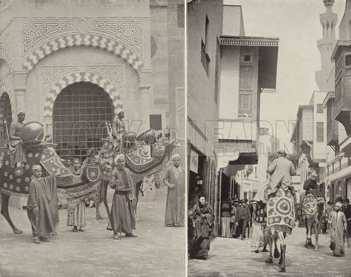 Typical Scenes in Cairo Street. Illustration for The Dream City, A Portfolio of Photographic Views of The World's Columbian Exposition (ND Thompson, 1893).