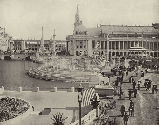 Looking South across the Grand Plaza. Illustration for The Dream City, A Portfolio of Photographic Views of The World's Columbian Exposition (ND Thompson, 1893).