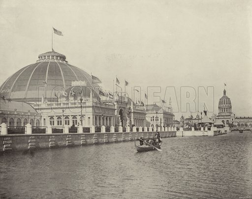North Lagoon from Horticultural Building. Illustration for The Dream City, A Portfolio of Photographic Views of The World's Columbian Exposition (ND Thompson, 1893).