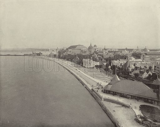 The Lake Shore Promenade. Illustration for The Dream City, A Portfolio of Photographic Views of The World's Columbian Exposition (ND Thompson, 1893).