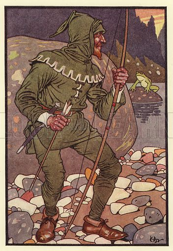 A was an Archer who shot at a frog. Illustration for The Alphabet (Collins, c 1910).