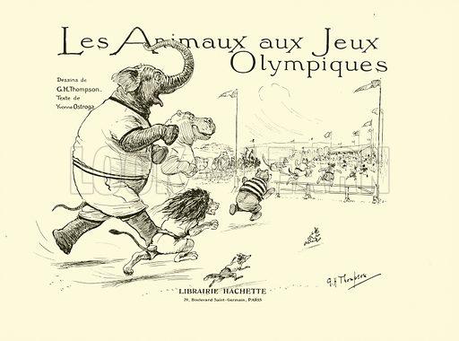 Illustration for Les Animaux au Jeux Olympiques (Hachette c 1900).