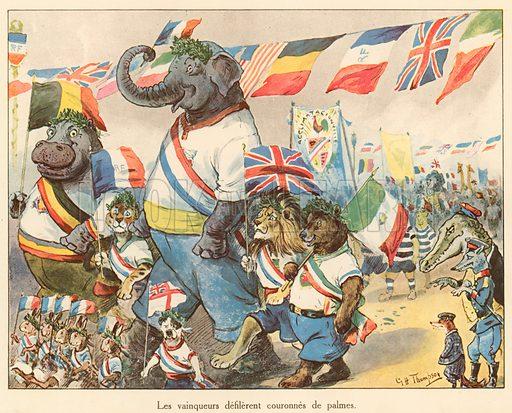 Les vainqueurs defilerent couronnes de palmes. Illustration for Les Animaux au Jeux Olympiques (Hachette c 1900).